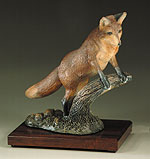 """Red Alert"" Fox standing on log - Painted"