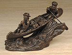 """Rocky Road"" Mountain men, canoe & rapids - Bronze"