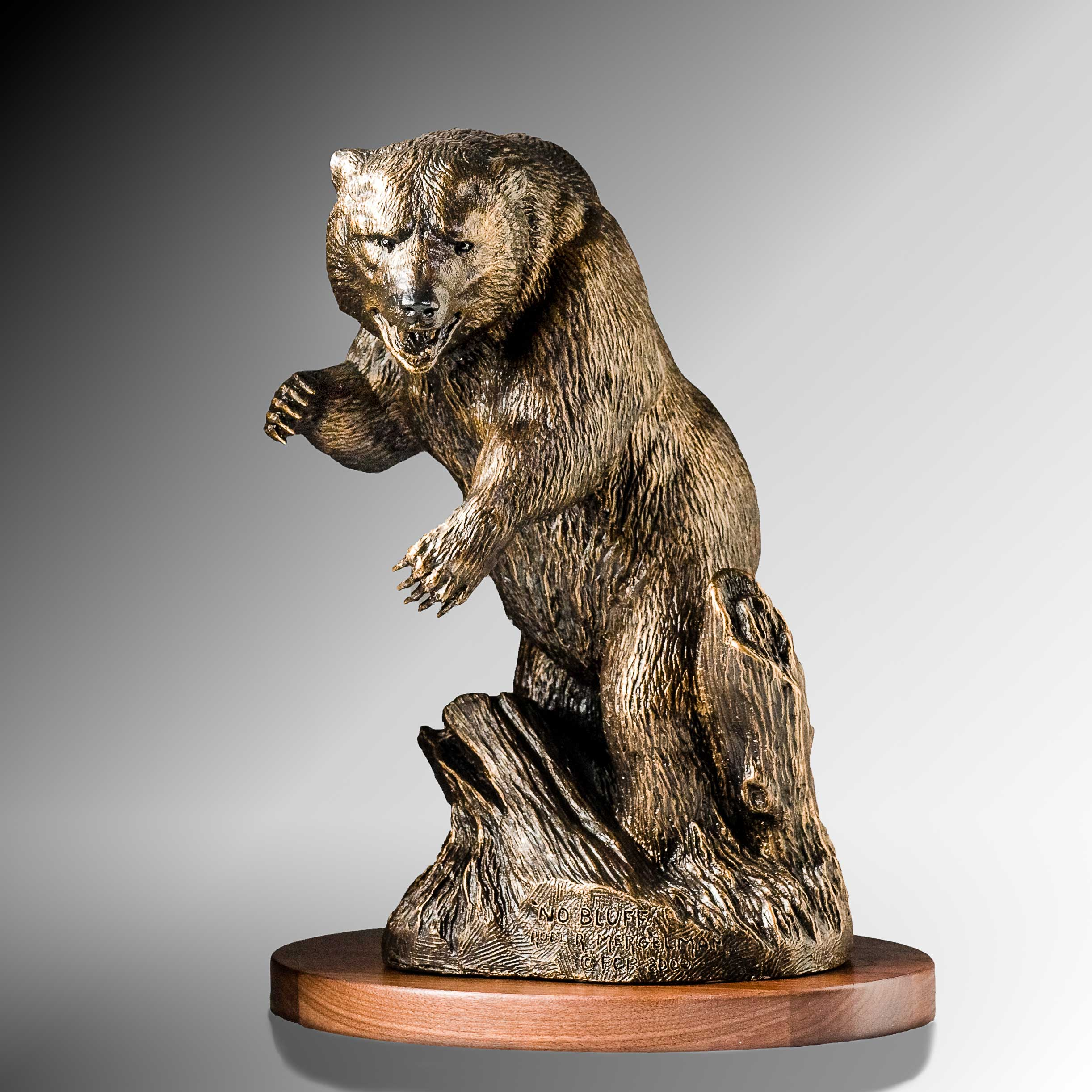"""No Bluff"" Standing grizzly bear w/ attitude - Bronze"